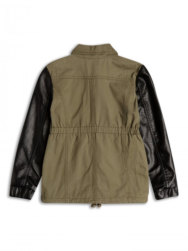 Jacket with Faux Leather Sleeves firmy Sugar Squad, kolor Khaki