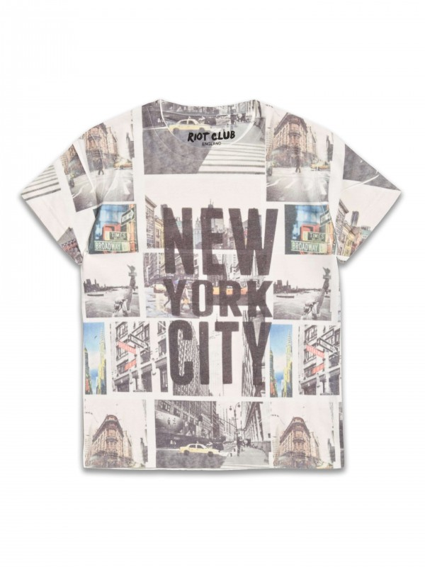 T-Shirt z nadrukiem New York firmy Riot Club, kolor Cream